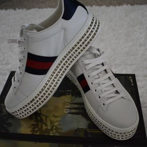 Gucci white crystal new ace sneakers. Preowned